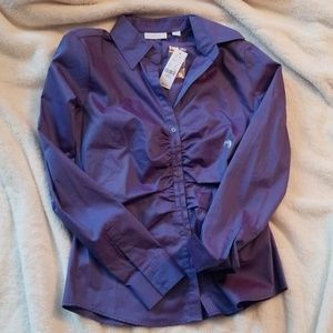 Purplish blue button down blouse